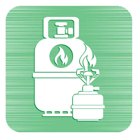 Camping stove with gas bottle icon. Flat icon isolated. Vector illustration