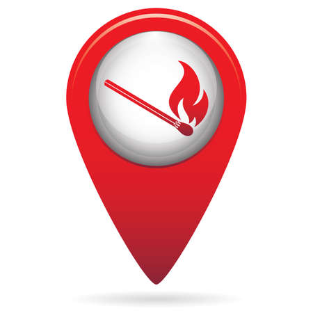 Location marker with matchstick fire icon illustration.