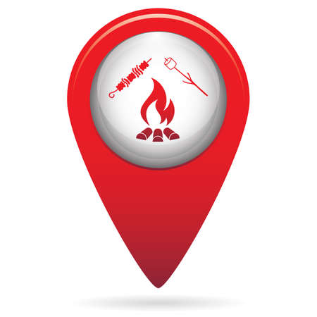 Location marker with bonfire concept icon illustration.