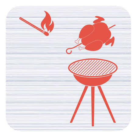 Barbecue grill with chicken icon vector illustration.