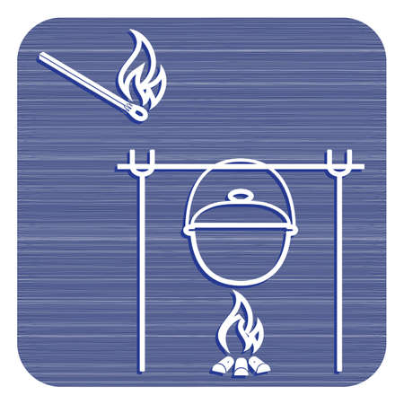 Fire and pot icon vector illustration.