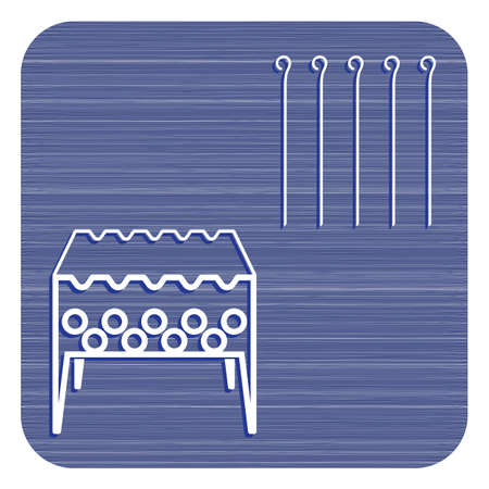 Brazier grill with skewers icon. Vector illustration   Illustration