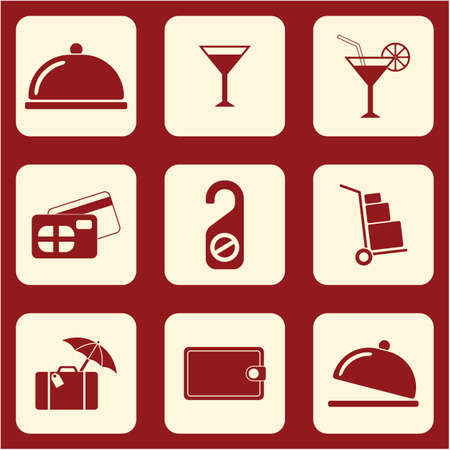 Set of icons for travel services. Vector illustration
