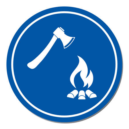 The ax and campfire icon. Flat Vector illustration