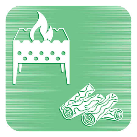 Brazier and firewood icon. Vector illustration isolated on white background