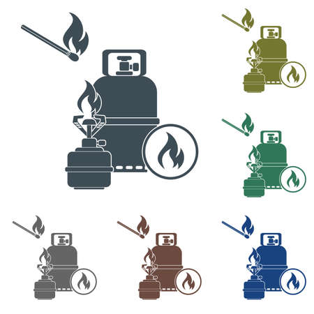 Camping stove with gas bottle icon vector. Vector illustration.  イラスト・ベクター素材