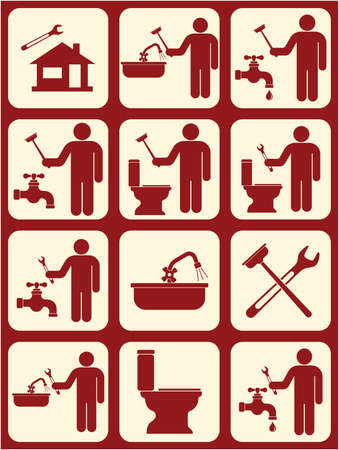 Plumbing work symbol icons set. Vector illustration