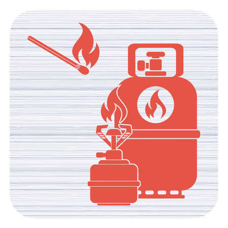 Camping stove with gas bottle icon vector.
