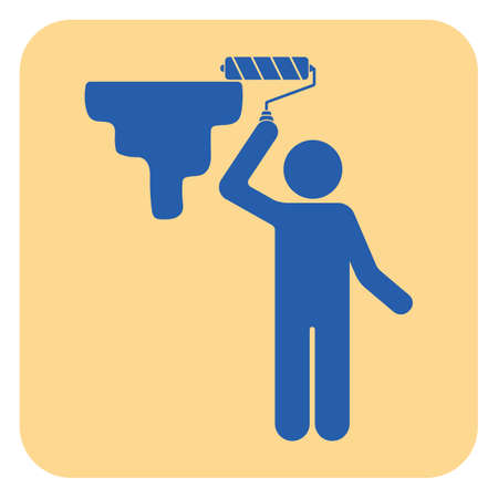 Painter with paint roller icon. Vector illustration.