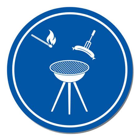 Barbecue sausage icon. Vector illustration.