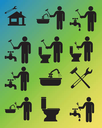 Plumbing work symbol icons set