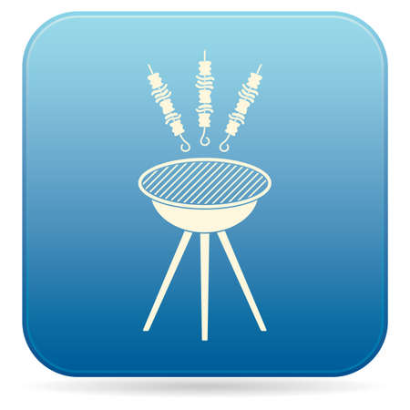 Grilled kebab icon. Vector illustration Illustration