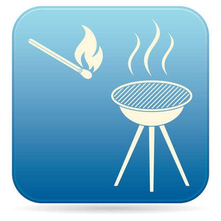 barbecue icon  Flat Vector illustration