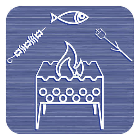 Grilled fish, zephyr and  kebab icon. Vector illustration