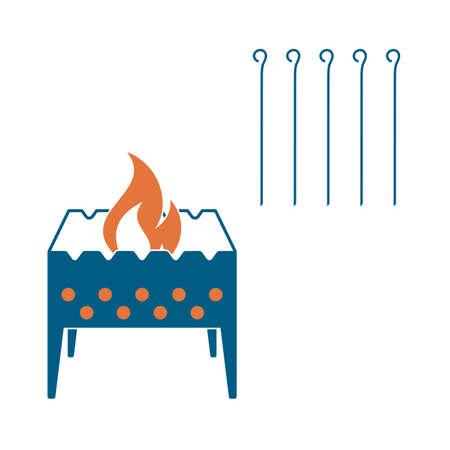 Camping Brazier icon. Vector illustration Vectores