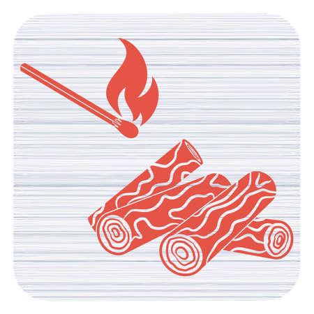 Firewood and matches icon Vector illustration  イラスト・ベクター素材