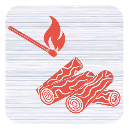Firewood and matches icon Vector illustration Illustration