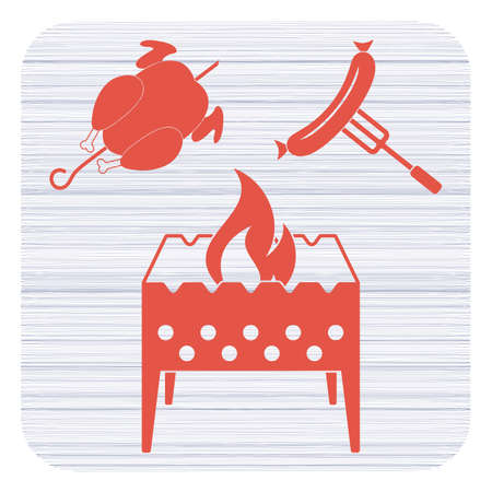 Brazier, chicken and sausage icon. Vector illustration Banque d'images - 97574556