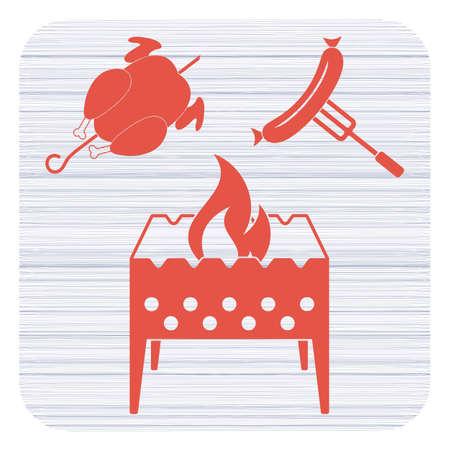 Brazier, chicken and sausage icon. Vector illustration Standard-Bild - 97574556