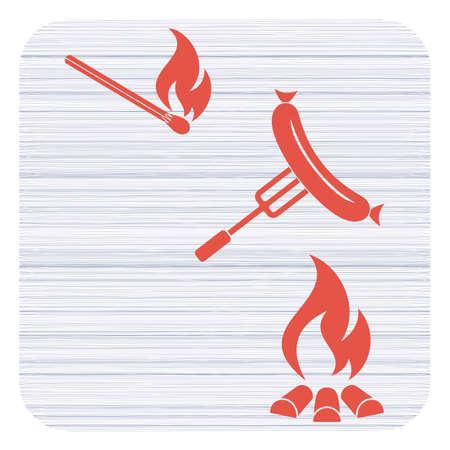 Grilled sausage icon. Vector illustration Illustration