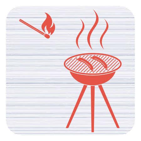 Barbecue sausage icon. Vector illustration Illustration