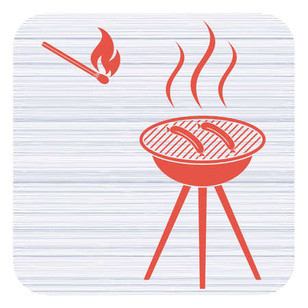 Barbecue sausage icon. Vector illustration