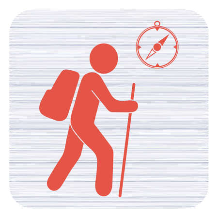 Hiking tourists with compass icon. Vector illustration Vectores