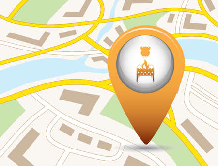 Brazier and chicken on a map icon. Vector illustration Illustration