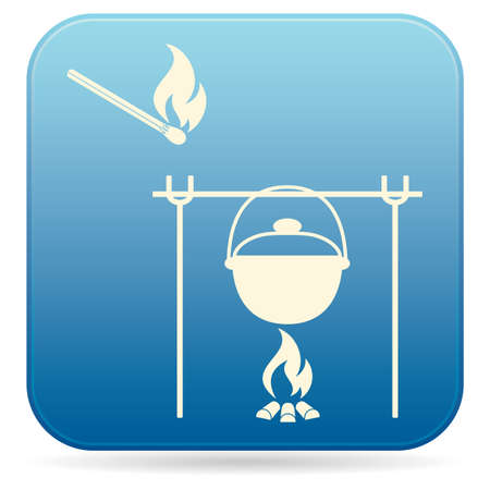 Fire and pot icon on blue background. Vector illustration.
