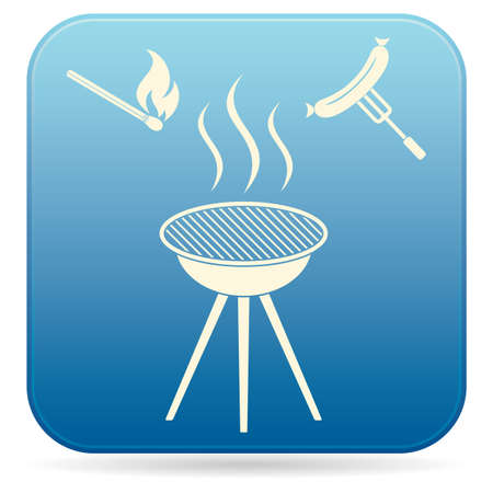 Barbecue sausage icon on white background. Vector illustration.