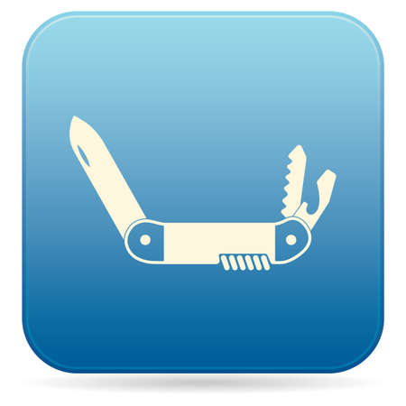Camping knife icon on blue background. Vector illustration. Banque d'images - 97923718