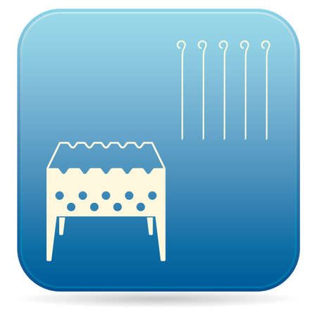 Brazier grill with skewers icon on blue background. Vector illustration.