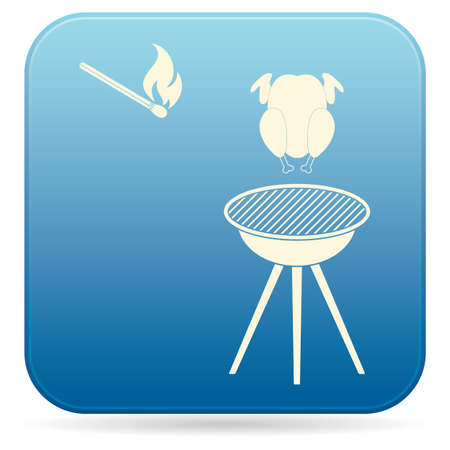 Barbecue grill with chicken icon on blue background. Vector illustration.