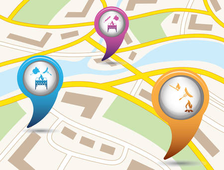 Set of tourism services map pointers on map. Vector illustration.