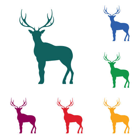 Silhouette of the deer. Flat deer icon. Vector illustration.