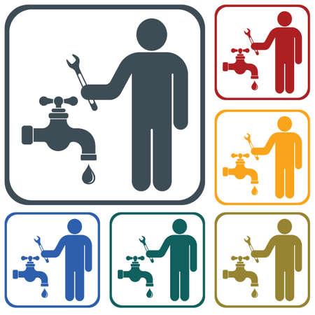Plumbing work symbol icon template. Vector illustration