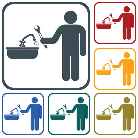 Plumbing work symbol icon template. Vector illustration