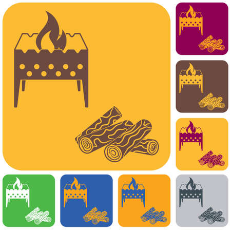 Brazier and firewood icon. Vector illustration Stock Vector - 98533066