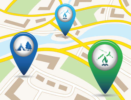 Set of tourism services map pointers on map. Vector illustration Illustration