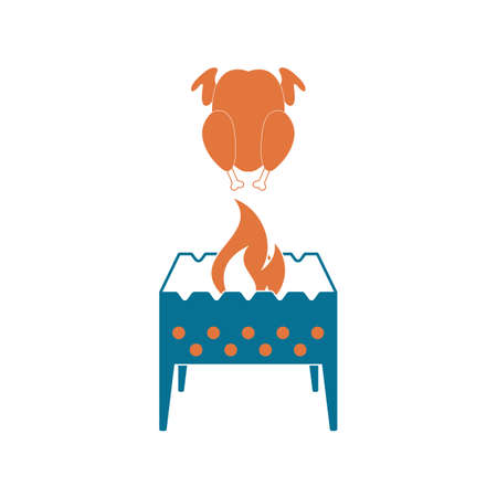 Brazier and chicken icon. Vector illustration Vectores