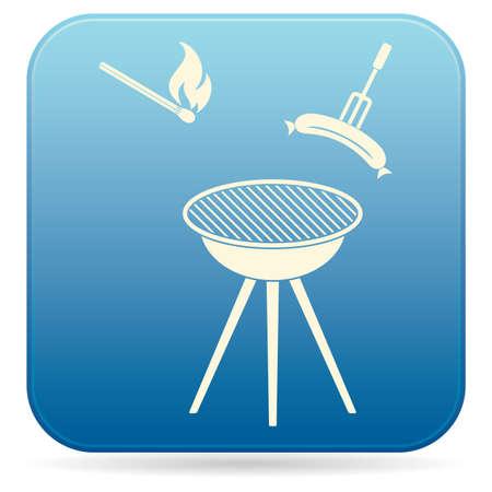 Barbecue sausage icon vector illustration.