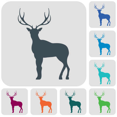 Silhouette of the deer. Flat deer icon set Vector illustration.