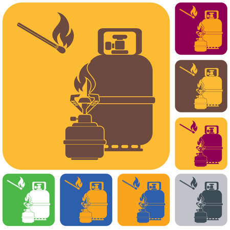 Camping stove with gas bottle icon  Vector illustration.