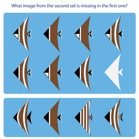 Logical task. Find what image from the second set is missing in the first one. Vector illustration  These are three-digit numbers in the binary system any of the 3 elements - a triangle on the muzzle, an arch on the trunk, a bird on the tail - either there or not.  Hint not enough 0, ie, the second fish from the lower set