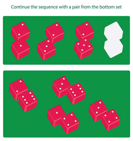 Logical task. Continue the sequence with a pair from the bottom set. Find what image from the second set is missing in the first one. Vector illustrationHintodd-number sequence Vectores