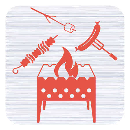 Brazier, zephyr, kebab and sausage icon. Vector illustration