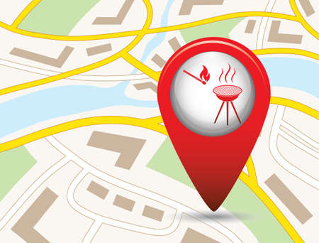 The barbecue icon inside a map locator symbol flat Vector illustration
