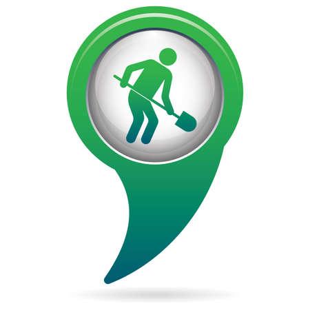 Digger with shovel icon. Vector illustration Illustration