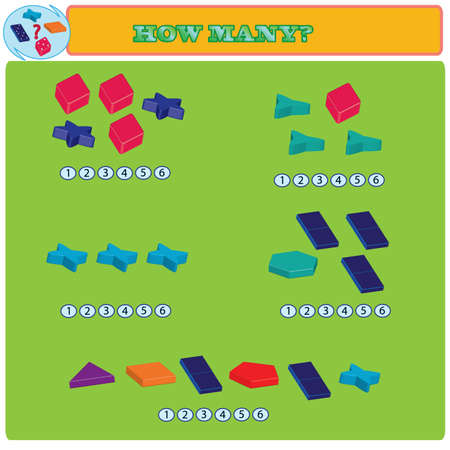 Logical task. How many figures in each group? Vector illustration Illustration