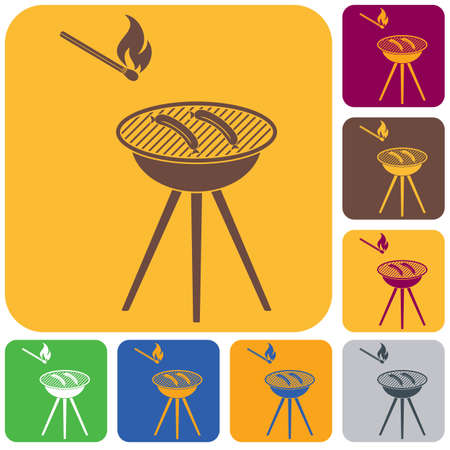 Barbecue sausage icon set